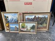 Sale 9072 - Lot 2075 - Group of (4) Landscape Paintings of Australia and New Zealand (framed, various sizes)