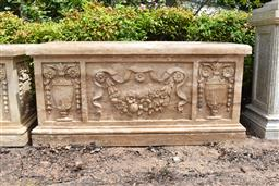 Sale 9135H - Lot 56 - A hand carved stone planter trough, with identical carving to opposite side, 1.3M Width x 50cm Depth x 60cm Height.