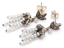 Sale 9156J - Lot 382 - A PAIR OF SILVER PEARL TASSEL STUD EARRINGS; each an enamelled dome with a fringe of freshwater pearl drops surmounted by a cultured...