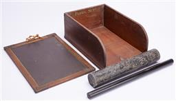 Sale 9185E - Lot 177 - A timber desk filer together with a small portable chalk board and others