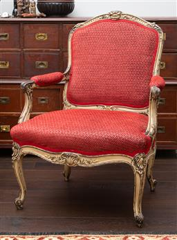 Sale 9190H - Lot 255 - A Louis XV carver chair upholstered in red diamond patterned fabric, Height of back 98cm x Width 70cm x Depth 60cm