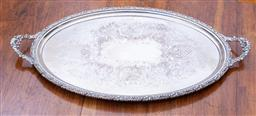 Sale 9190H - Lot 107 - An excellent quality English Barker Ellis silverplate large double handle oval tray, the centre decorated with elaborate scrolling f...