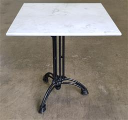 Sale 9188 - Lot 1543 - Square marble top table on metal base (h:76 w:70 d:70cm)