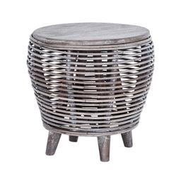 Sale 9250T - Lot 71 - A fruitwood stool with rattan in grey wash on four feet. Height 42cm x Width 49cm x Depth 49cm