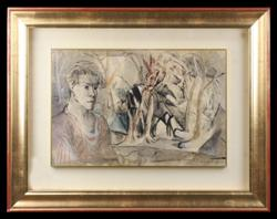 Sale 7923 - Lot 514 - Donald Leslie Stuart Friend - Untitled Man in Landscape 31 x 47cm