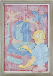 Sale 8349 - Lot 516 - David Bromley (1960 - ) - Untitled (Young Boy Artist) 60 x 39cm