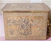 Sale 8430 - Lot 59 - An embossed brass coal box with Dutch canal scene. Length 51cm.