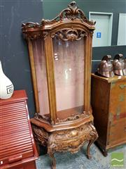 Sale 8465 - Lot 1013 - Heavily Carved Timber Display Cabinet with Bow Glass Panel Door & Two Drawers Below