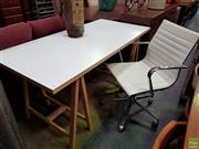 Sale 8611 - Lot 1024 - Modern Tressle Style Desk and Chair