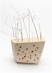 Sale 8770 - Lot 14 - Shona Wilson Fortress No. 7, 2006 ceramic, twigs and seedpods (some twigs missing) 28 x 19 x 20cm