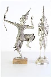 Sale 8977 - Lot 16 - A silvered Thai figure of an archer on timber stand (total height 37.5cm) together with a Thai figure of a deity (H38cm)