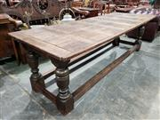 Sale 9014 - Lot 1032 - Good Charles II Oak Refectory Table, with later parquetry top, on solid turned baluster legs, joined by stretchers (H:77 x L:254 x W...