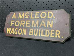 Sale 9117 - Lot 1076 - Timber WAGON BUILDER hand painted sign (h:15 x w:36cm)