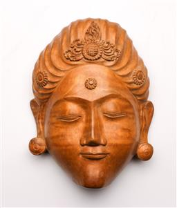 Sale 9098 - Lot 431 - South East Asian Carved Green Tara Wooden Mask , H: 17.5cm