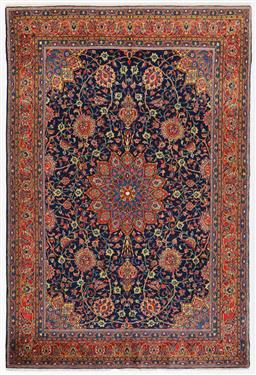 Sale 9123J - Lot 125D - Fine Persian vintage c1950 Sarouk Traditional rug in terracotta and blue tones  320 x 210cm