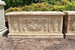 Sale 9135H - Lot 57 - A hand carved stone planter trough, with identical carving to opposite side, 1.3M Width x 50cm Depth x 60cm Height.