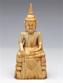 Sale 9175 - Lot 210 - Carved Ivory Buddha, Possibly From Laos, Old Patina (H; 14.5cm, D; 4cm, W; 5.5cm)