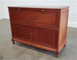 Sale 9210 - Lot 1062A - Chinese Rosewood lift top chest with 2 doors below (h89 x w117 x d54cm) damage to drawer inside