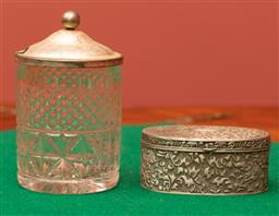 Sale 9260M - Lot 26 - An oval pewter trinket box together with a crystal lidded preserve pot