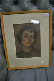 Sale 7923 - Lot 573 - Garret Kingsley - Woman with Red Lipstick 24 x 17cm
