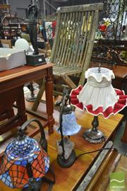 Sale 8277 - Lot 1067 - Three Pairs of Table Lamps & Pair of Golf Figures (8)