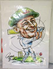 Sale 8460C - Lot 13 - Caricature by Graeme Biddle of Don Bradman. Limited edition 486/500. Very good.