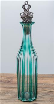 Sale 8530A - Lot 220 - A green artglass decanter with silverplated stopper