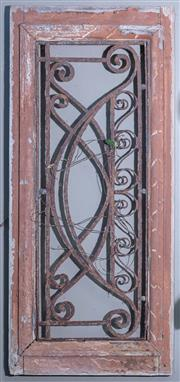 Sale 8568A - Lot 178 - An antique French style transom window frame with wrought iron work, H 59cm