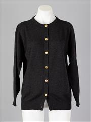 Sale 8661F - Lot 94 - A Taranto, Italy charcoal cashmere cardigan with gold toned buttons, size small