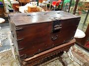 Sale 8693 - Lot 1008 - Japanese Pine Chest, with iron strap-work and partially hinged top, secured by a lock