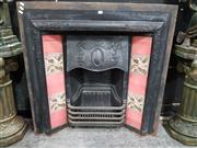 Sale 8717 - Lot 1002 - Edwardian Cast Iron Fireplace, with floral motif & coloured tiles