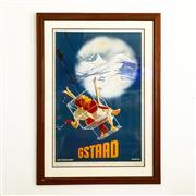 Sale 8878T - Lot 56 - Framed Swiss Skiing Print Gstaad Dimensions of Frame - 93cm x 66cm