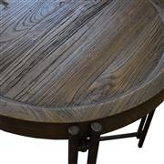 Sale 8957T - Lot 80 - Modern Industrial in Design,  an oval console table constucted from solid reclaimed  elm. The top in a natural finish with raised cu...