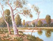 Sale 9030 - Lot 577 - William Lister Lister (1859 - 1943) - Cattle Watering, Coxs River, Burragorang Valley 50.5 x 65.5 cm (frame: 64 x 80 x 4 cm)