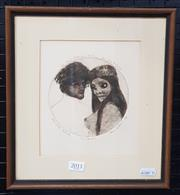 Sale 9036 - Lot 2011 - Paul Delprat The Lovers 1978etching and aquatint ed. AP / 20, 29 x 26cm (frame) signed lower right