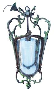 Sale 9080J - Lot 189 - A Louis XV style weather aged bronze / brass hall lantern with fitted 4 glass panels. Recently rewired - Overall height without chai...
