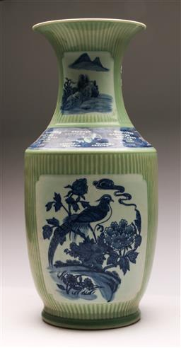 Sale 9128 - Lot 86 - A Chinese blue, green and white vase with central bird motif (H 50cm)