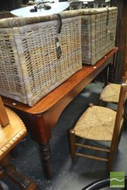 Sale 8431 - Lot 1025 - Late 19th Century Long Cedar Work Table, one apron recessed & on turned legs (H 75 x L 169 x D 61cm)