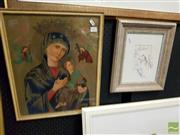 Sale 8491 - Lot 2085 - Religious Print depicting Madonna & Child together with Framed Painting by V. Cheng