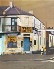 Sale 8663 - Lot 2016 - Annie Clark - The Corner Store 1976, oil on board, 45 x 35cm, signed and dated lower left
