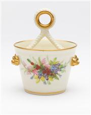 Sale 8660A - Lot 78 - A Royal Worcester vase modelled as a pail with a double rope handle, painted to the front and back with spring flowers, H 9cm x D 6.5cm