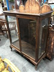 Sale 8782 - Lot 1322 - Timber Display Cabinet with Two Glass Panel Doors on Cabriole Legs