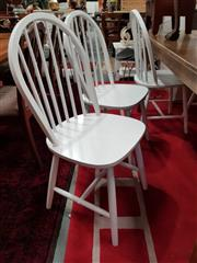 Sale 8817 - Lot 1040 - Set of Six White Curved Spindle Back Dining Chairs