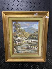 Sale 8910 - Lot 2066 - John Cornwall Mountain River, Snowy Ranges at Tom Goggin oil on hessian, 32 x 25cm, signed lower right