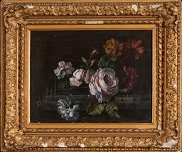 Sale 9123 - Lot 2007 - Artist Unknown, Still Life, oil on wood panel, frame: 35 x 42 cm, unsigned -