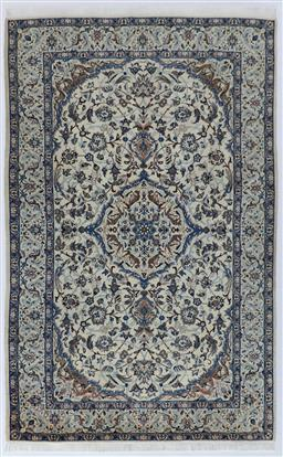 Sale 9123J - Lot 105A - A fine Persian wool and silk pictorial Nain Persian rug c1950 in ivory and blue tones 326 x 202cm