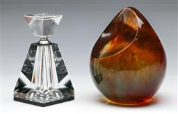 Sale 9164 - Lot 47 - Dinosaur Design Paperweight (H 16cm) together with an Art Deco Style Glass Perfume Bottle (H 13cm)