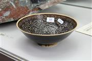 Sale 8322 - Lot 88 - Egg Shell Floral Bowl with Brown Glaze