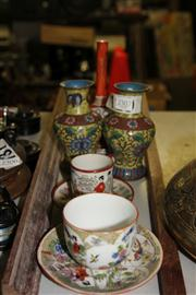 Sale 8362 - Lot 2499 - Chinese Hand Painted Vases with Other Wares incl Japanese Plaques