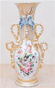 Sale 8430 - Lot 53 - A C19th Bohemian mantel vase with rope handles and floral spray